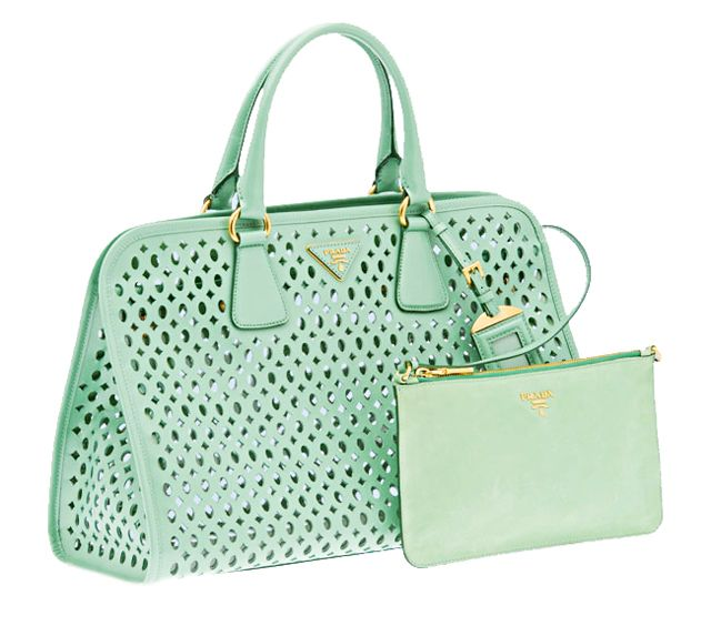 My obsession: PRADA perforated mint patent leather tote bag