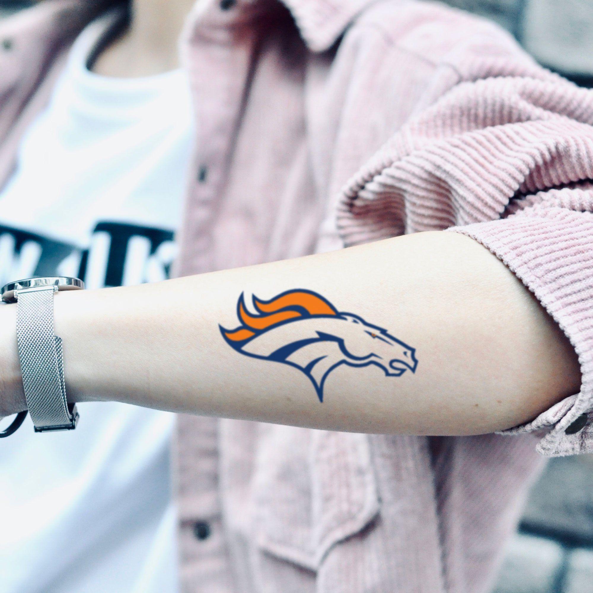 Denver Broncos Temporary Tattoo Sticker Set Of 2 In 2020 Denver Broncos Tattoo Tattoo Stickers Denver Broncos