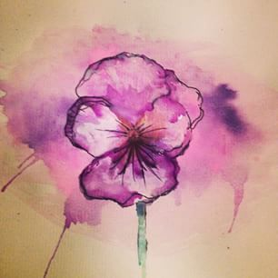 Pansy Watercolor Flower Purple Art Paint Draw Doodle Jd3nny