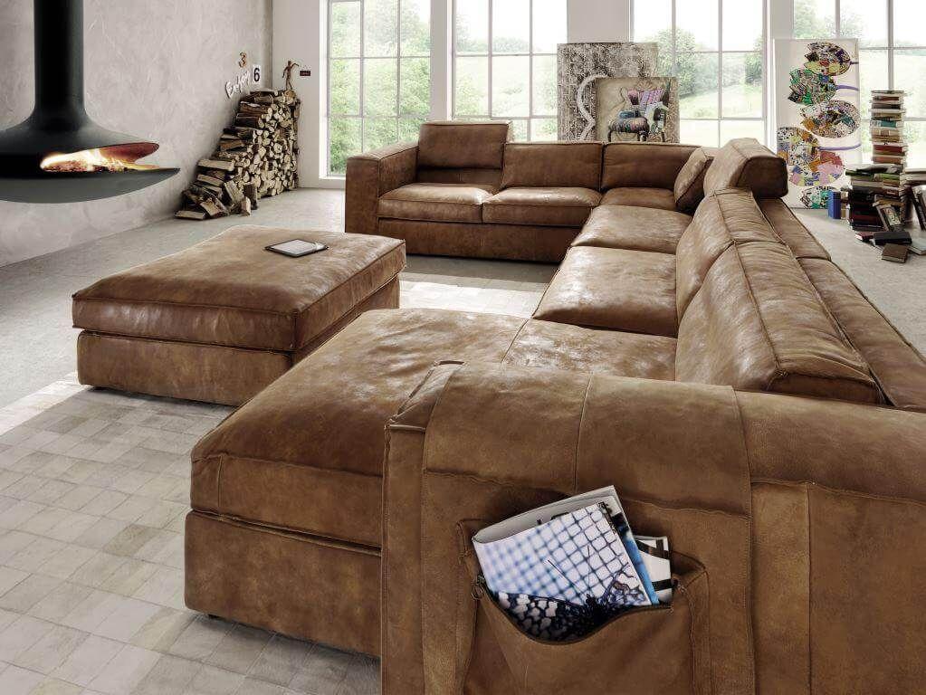 Hoekbank Suede Leer.Bank En Hoekbank Sassari In Leder Van Het Anker Home Decor Comfy