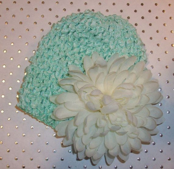 Childrens Infant Minty Green Waffle Hat with Ivory Mum by LambyDoo, $2.75