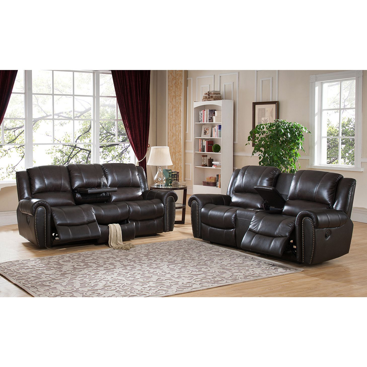 Amax Charlotte Top Grain Leather Reclining Sofa and Loveseat Set