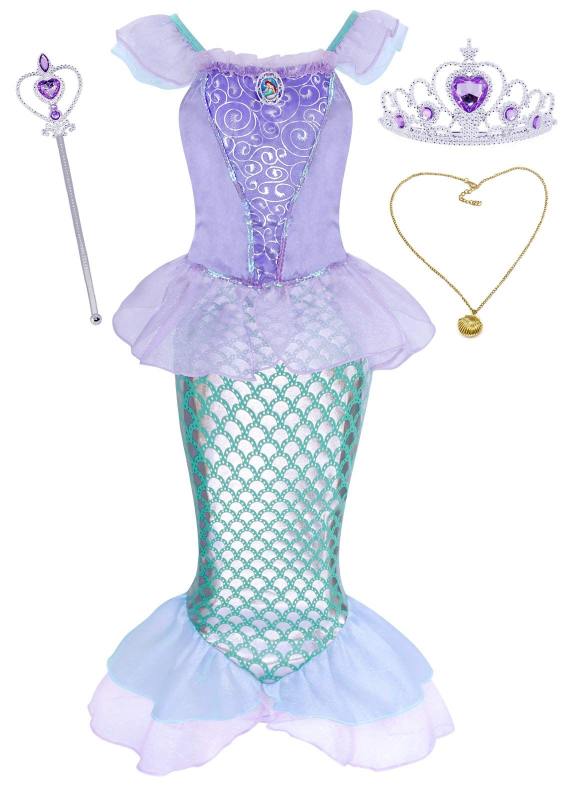 AmzBarley Girls Princess Coronation Dress Halloween Costume Dress up Birthday Party Outfits with Accessories