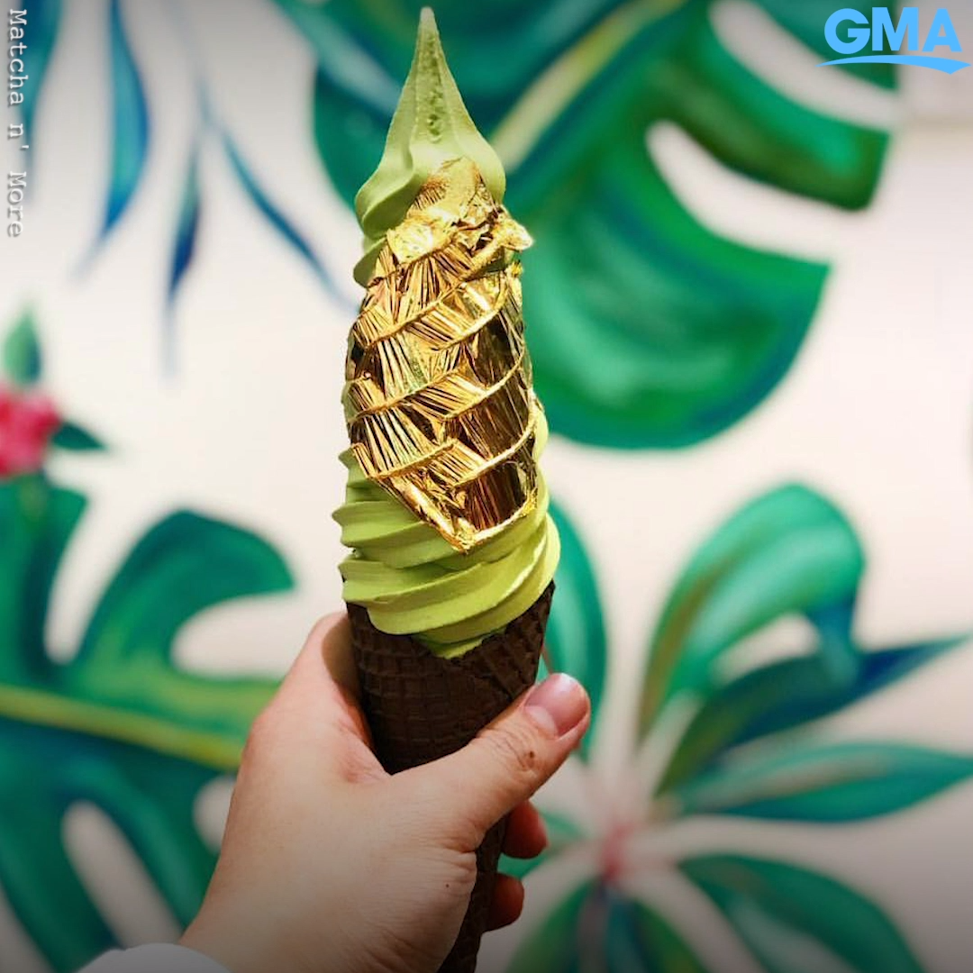 All that glitters is gold on this over-the-top matcha ice cream cone