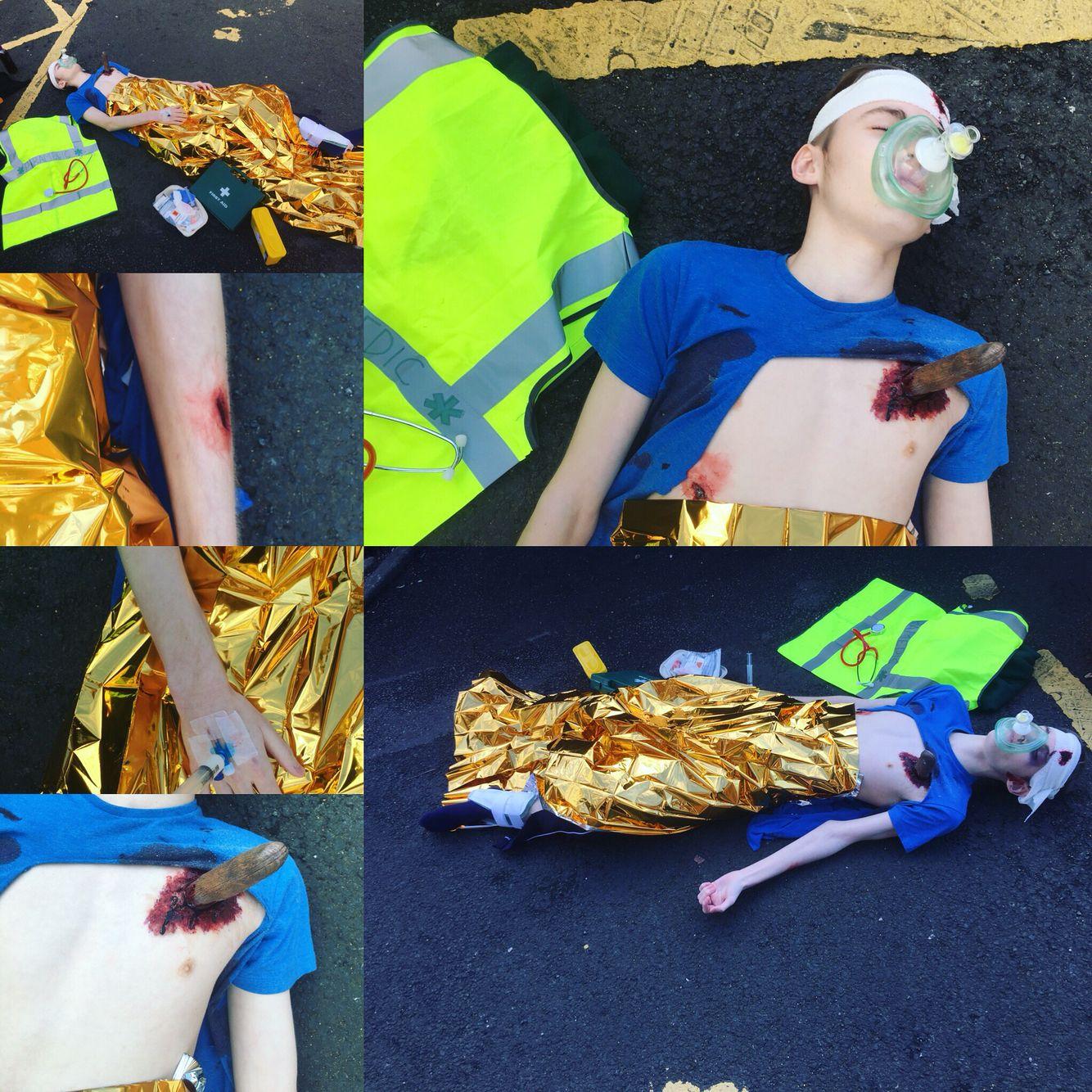 Scene of devastation exam - terror attack, prosthetic knife to the ...