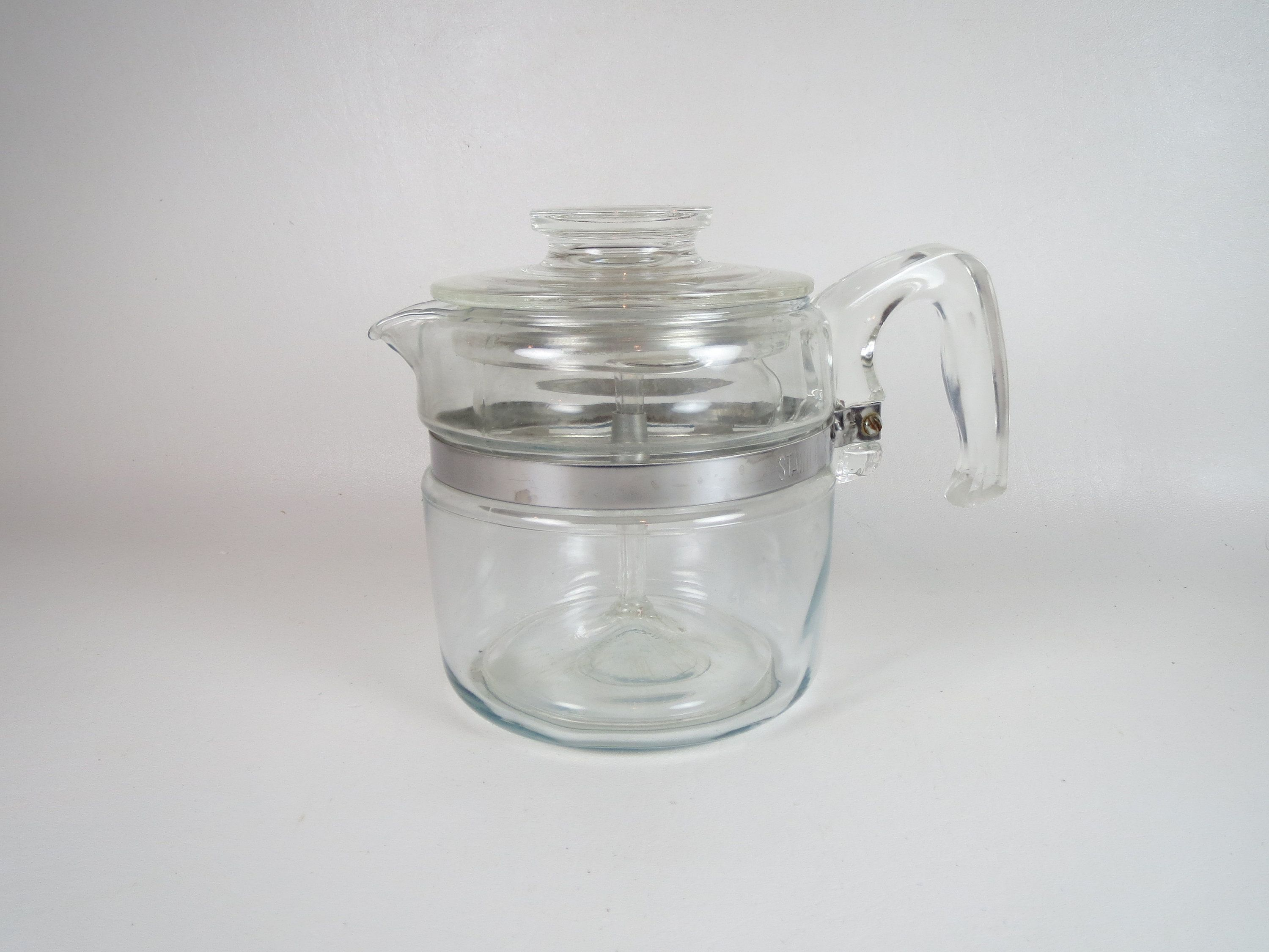 Pyrex Flameware 4 Cup Percolator Clear Glass Coffee Pot Etsy In 2020 Vintage Coffee Pot Vintage Stoves Coffee Pot