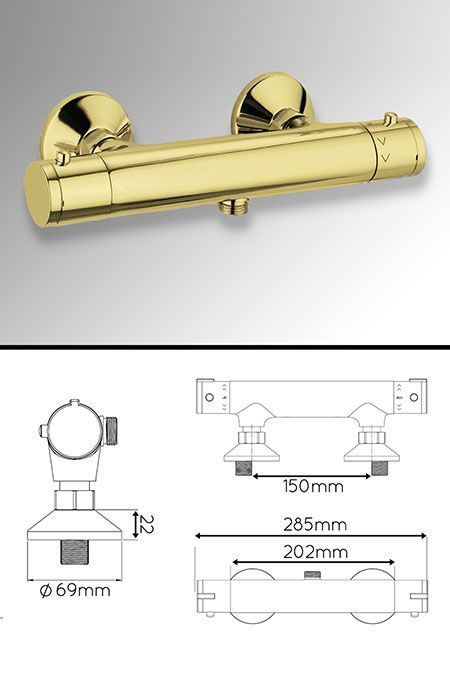 Gold Exposed Thermostatic Shower Valve (43MM) | Gold Bathrooms ...