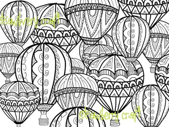 hot air balloon coloring page, coloring page, intricate coloring ... - Hot Air Balloon Pictures Color