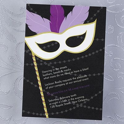 Masquerade - Invitation...If it's a masquerade or Mardi Gras event you are celebrating, this purple feathered invitation will get your guests in a festive mood.