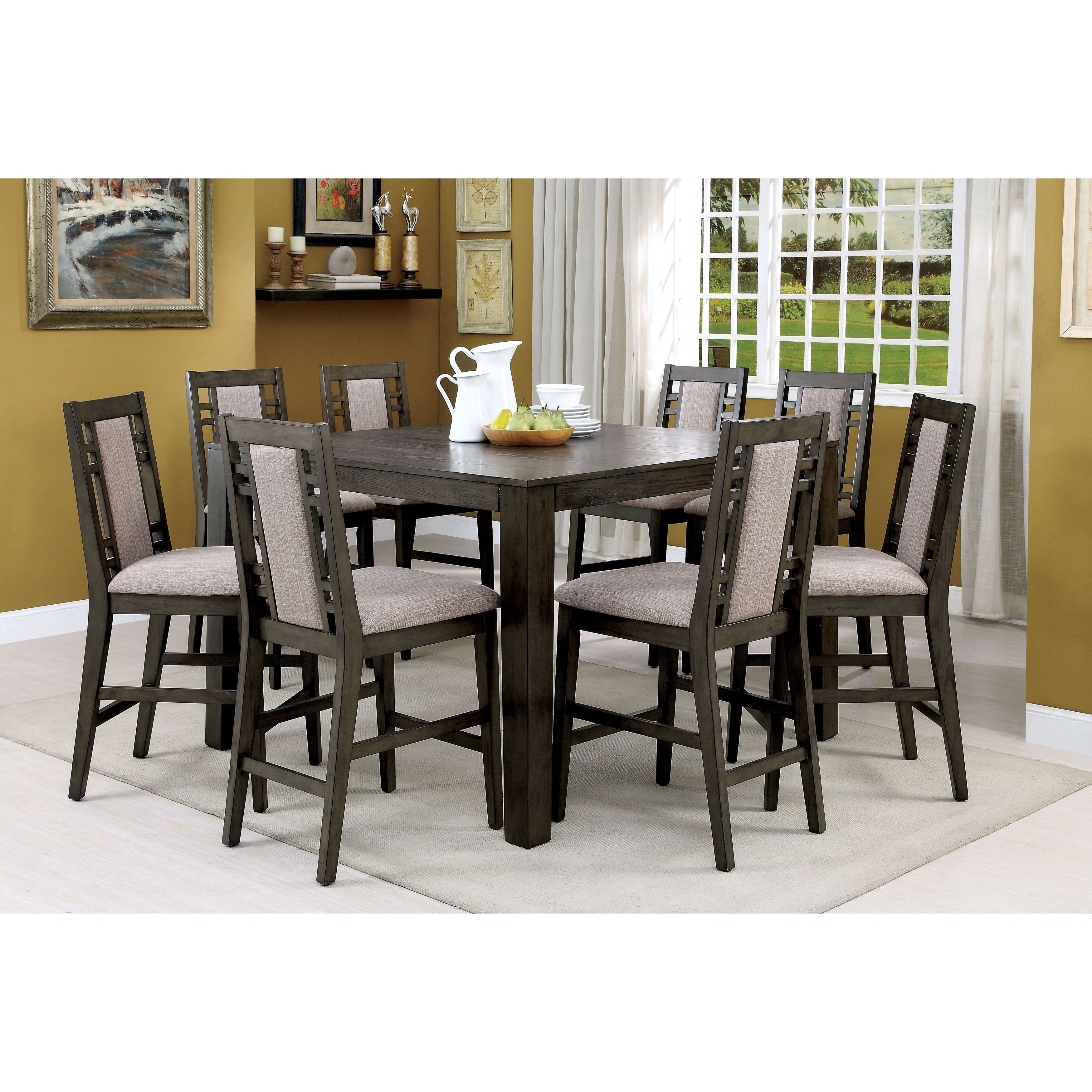 Furniture Of America Basson Rustic 9 Piece Expandable Counter Height Dining  Set