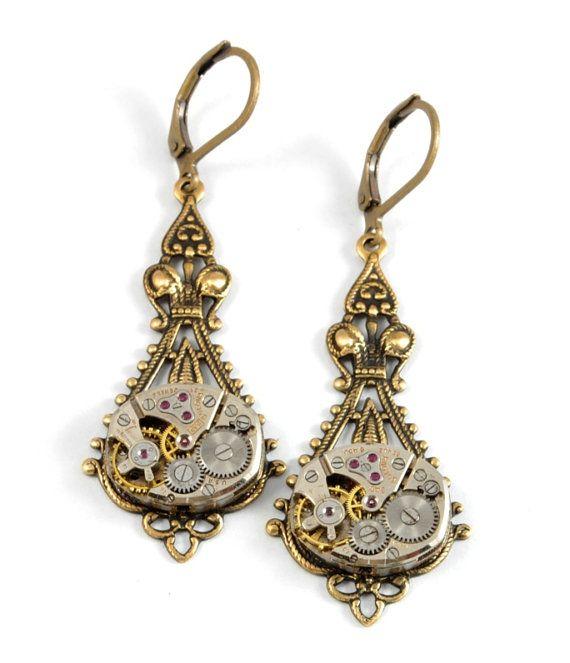 Steampunk Earrings Steam Punk Watch Earrings Antique Brass Drop Dangle Earrings Steampunk Wedding Steampunk Jewelry by Victorian Curiosities #vintagewatches
