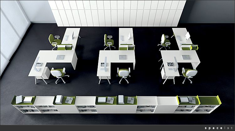 Spaceist kompany white corner office desk layout office for Office desk layout ideas