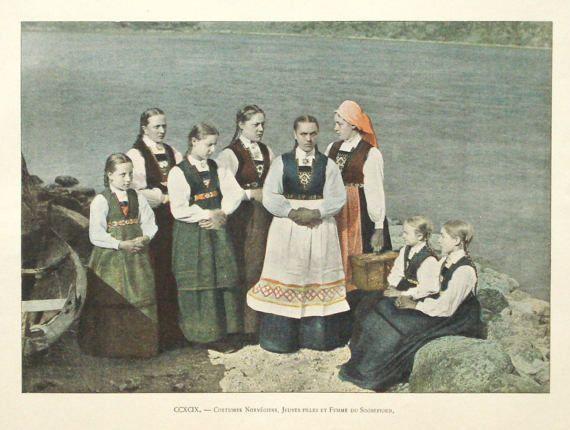 ec96d677830 1895 Norwegian girls print Norway folk by PaperThesaurus on Etsy ...