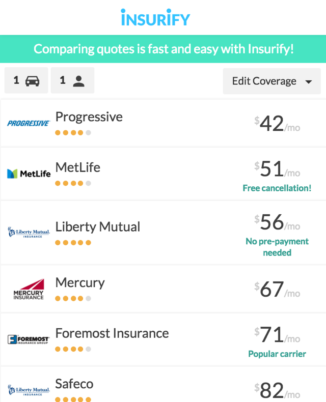 10 Best & Worst Sites to Compare Car Insurance - Insurify ...