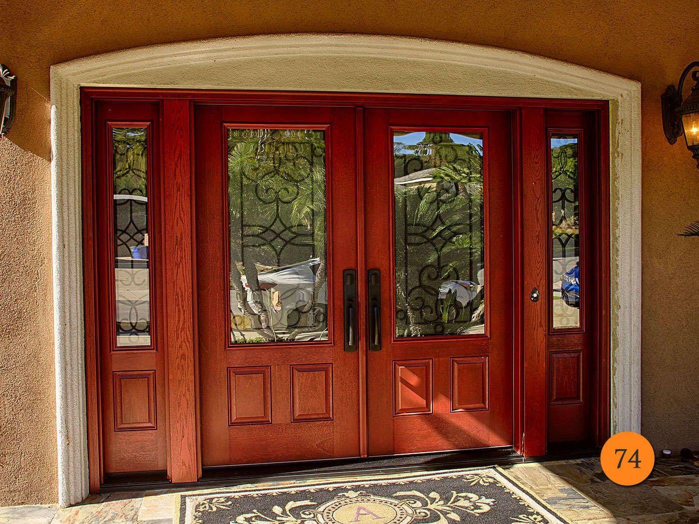 Double entry door with sidelights door handles and double