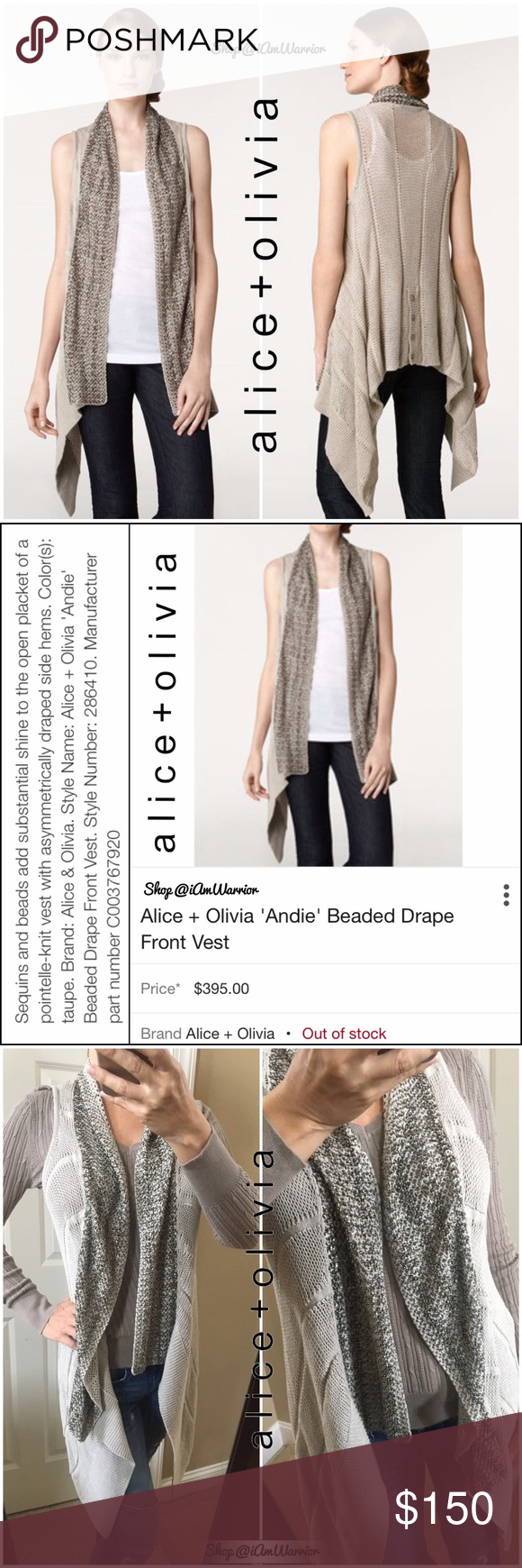 4f654733242d9 Alice + Olivia beaded drape front cardigan sweater Stunning sleeveless open  cardigan sweater from Alice and