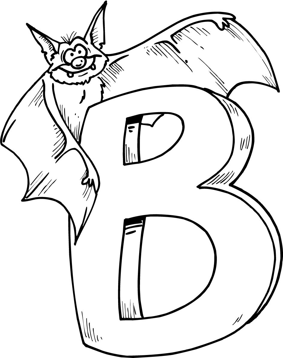 colouring page of letter b with bat Letter b coloring