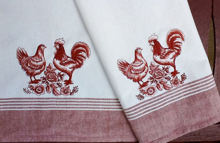 French Country Toile Chickens Rooster And Hen Embroidered Kitchen