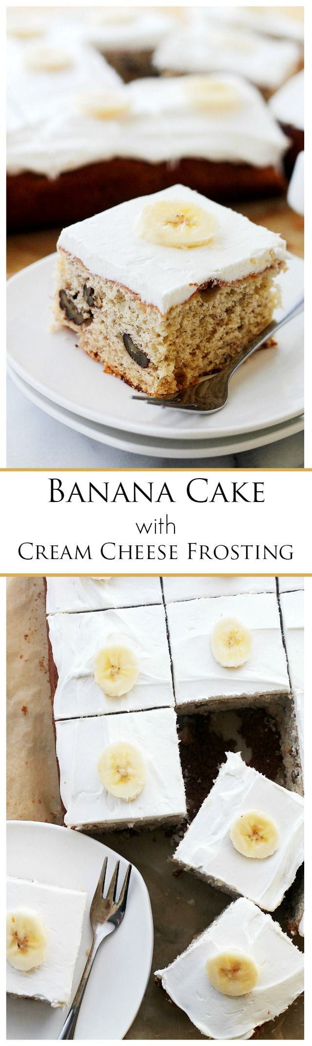 Banana Cake with Cream Cheese Frosting - Decadent, easy to make Banana Cake topped with a smooth Cream Cheese Frosting.