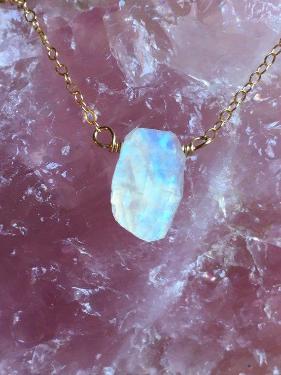 Raw Gemstone Necklace June Birthstone Moonstone Necklace Bridal Jewelry Moonstone Pendant Moonstone Jewelry Wedding Necklace