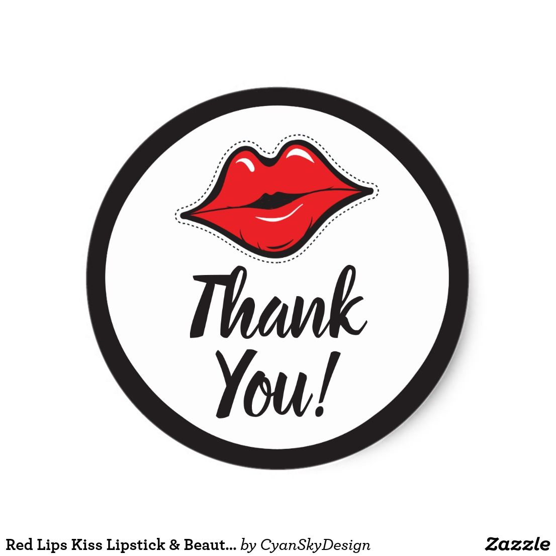 Red Lips Kiss Lipstick Beauty Supply Thank You Classic Round
