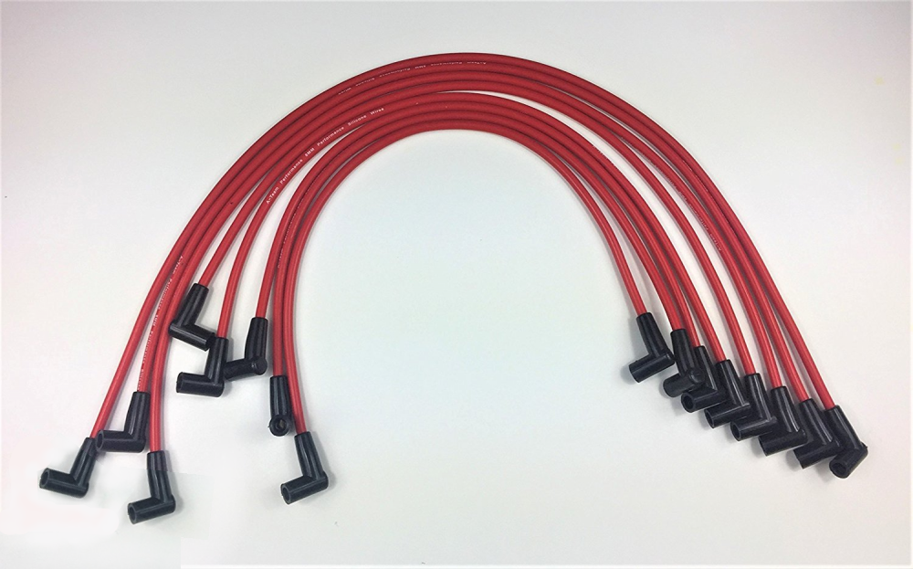 Small Block CHEVY 327-350-400 HEI Spark Plug Wires Under Exhaust RED UNIVERSAL