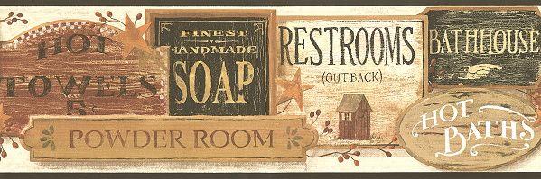 All bathroom signs wallpaper border wallpaper border for Bathroom border paper