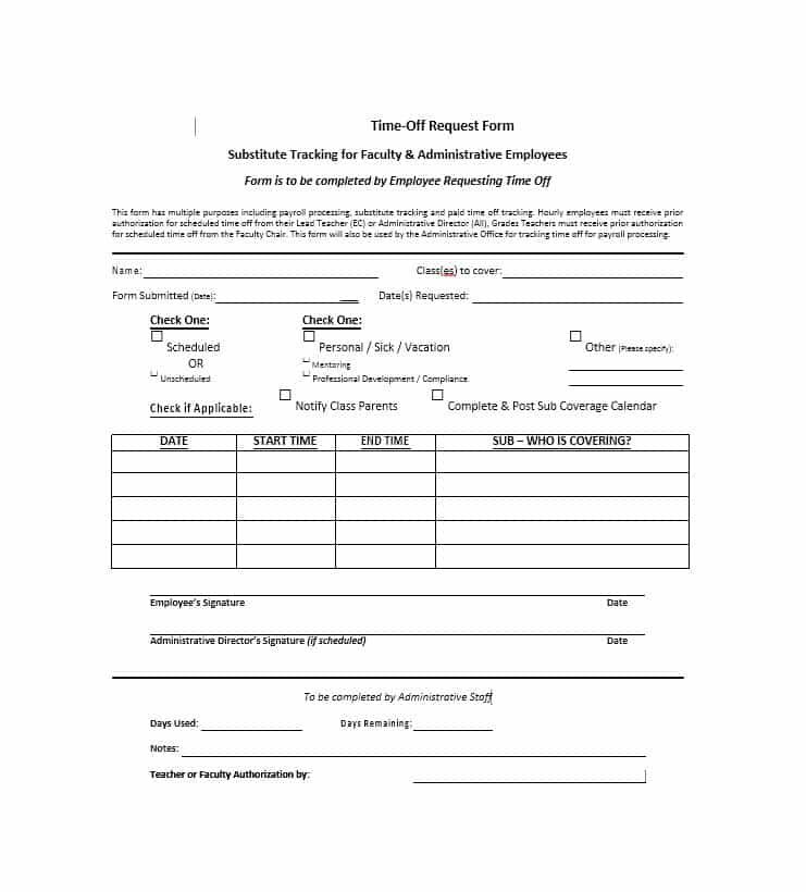 Pto Request Form Printable Google Search Templates Love