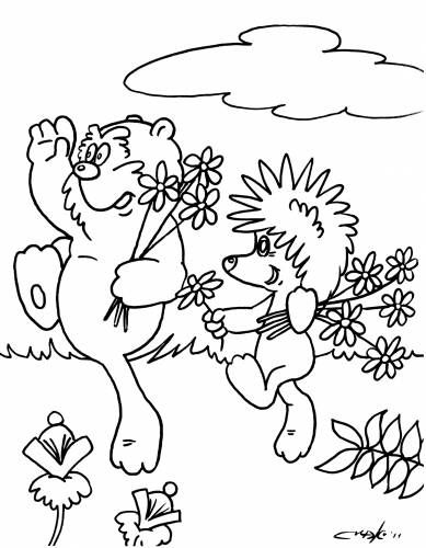 Раскраска ёжик и медвежонок (With images) | Coloring pages ...