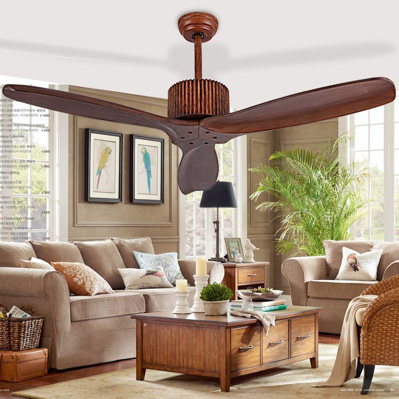 European Modern Wooden Ceiling Fan With Remote Control Living Room Bedroom Dining Attic Without Light
