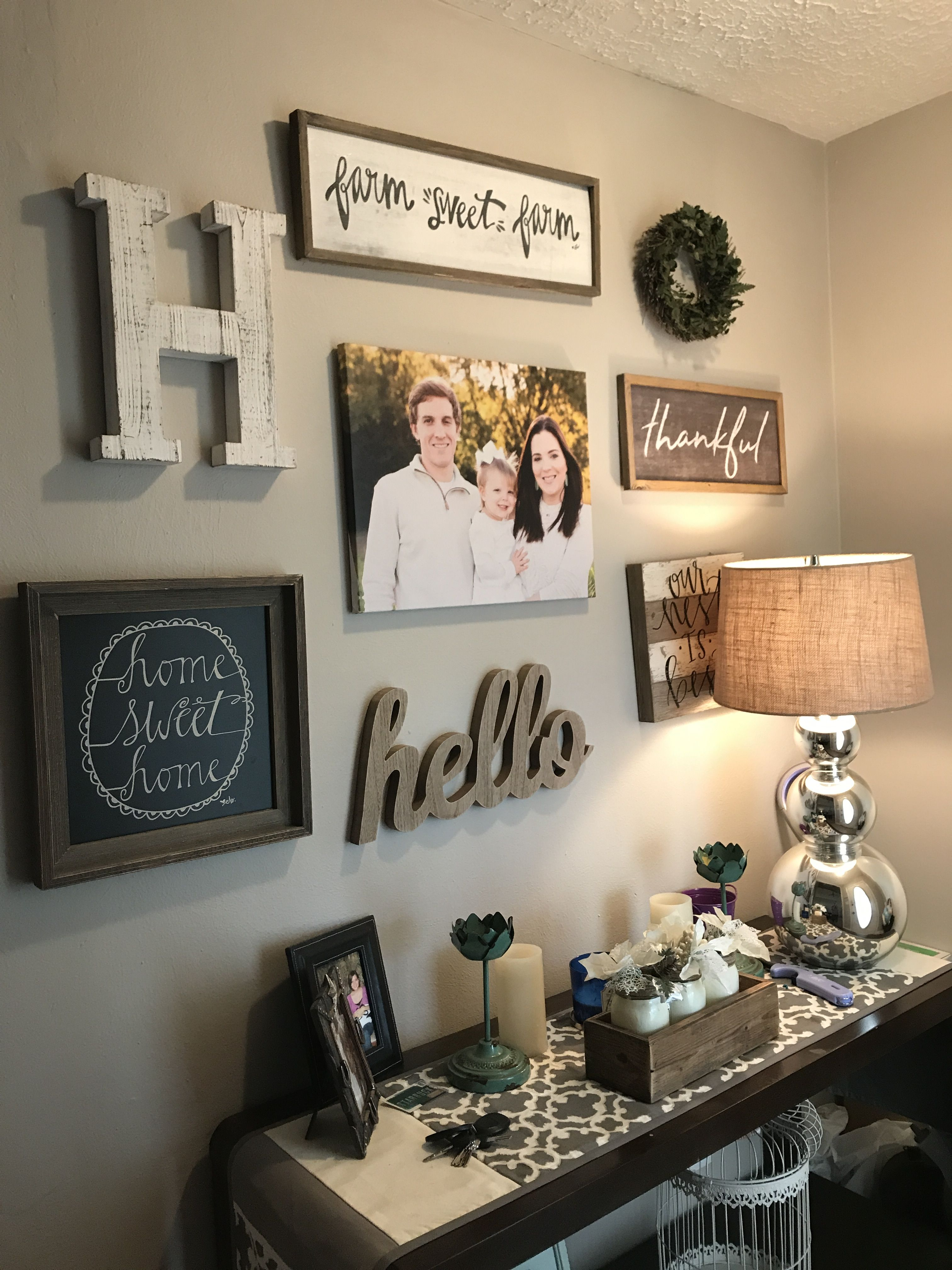 Gallery wall with handmade pallet clock httphubzfo98this entryway decor amipublicfo Image collections