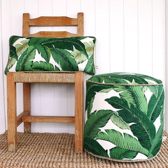 Green Palm Banana Leaf Outdoor Lumbar Cushion By