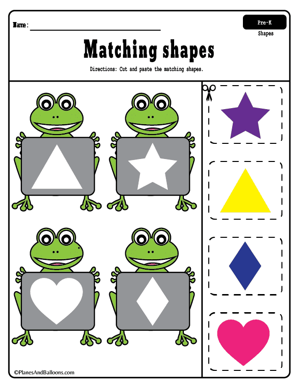 Cut and paste shapes worksheets for toddlers and