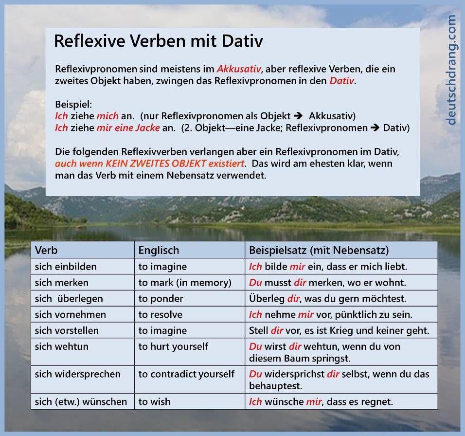 reflexiv dativ 2   Deutsch- Vokabeln   Pinterest   German, German ...