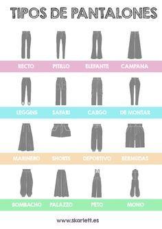 Diseño de moda / Tipos básicos de pantalón. Ficha descargable