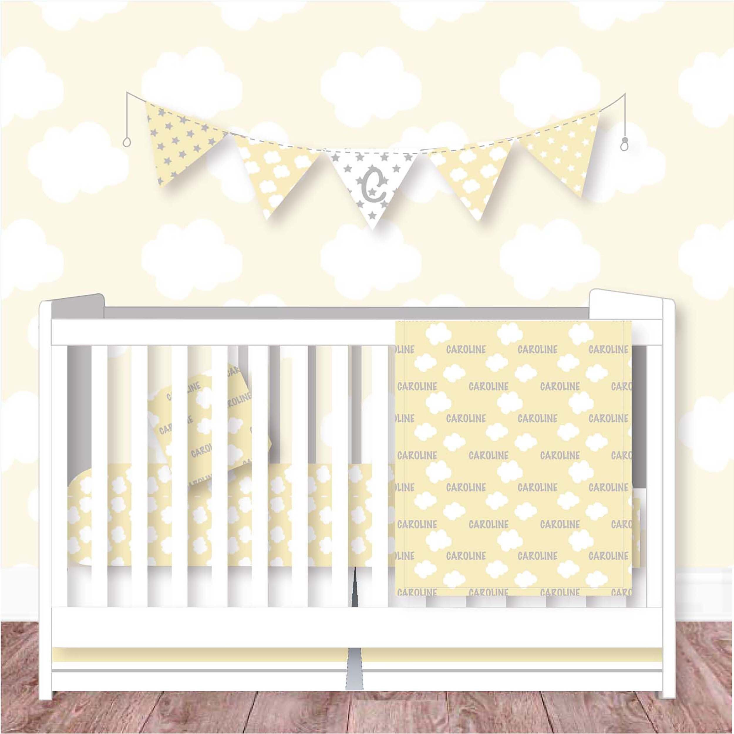 Personalized Nursery Bedding Personalized Crib Bedding Yellow