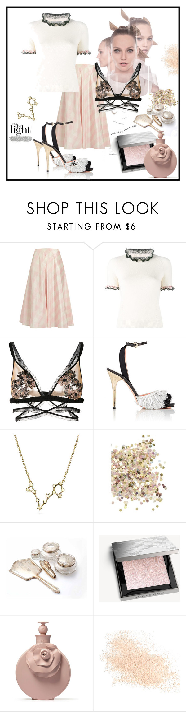 """""""The Sky's The Limit"""" by ildiko-olsa ❤ liked on Polyvore featuring Valentino, Alexander McQueen, For Love & Lemons, Rochas, Bling Jewelry, Topshop, Burberry and Eve Lom"""