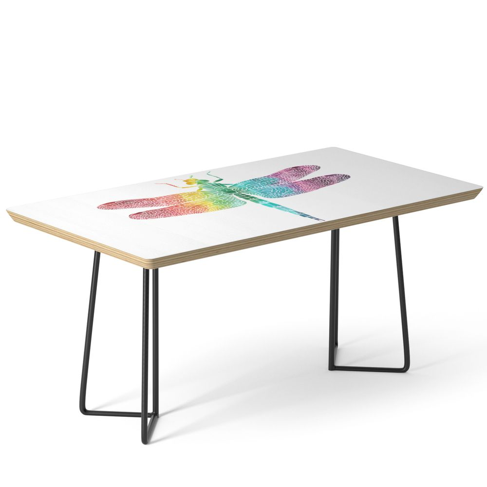 Gorgeous Rainbow Watercolor Dragonfly Silhouette Coffee Table By