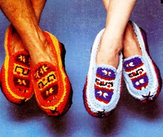 KNITTING PATTERN - Vintage Moccasin Boot Slippers ...