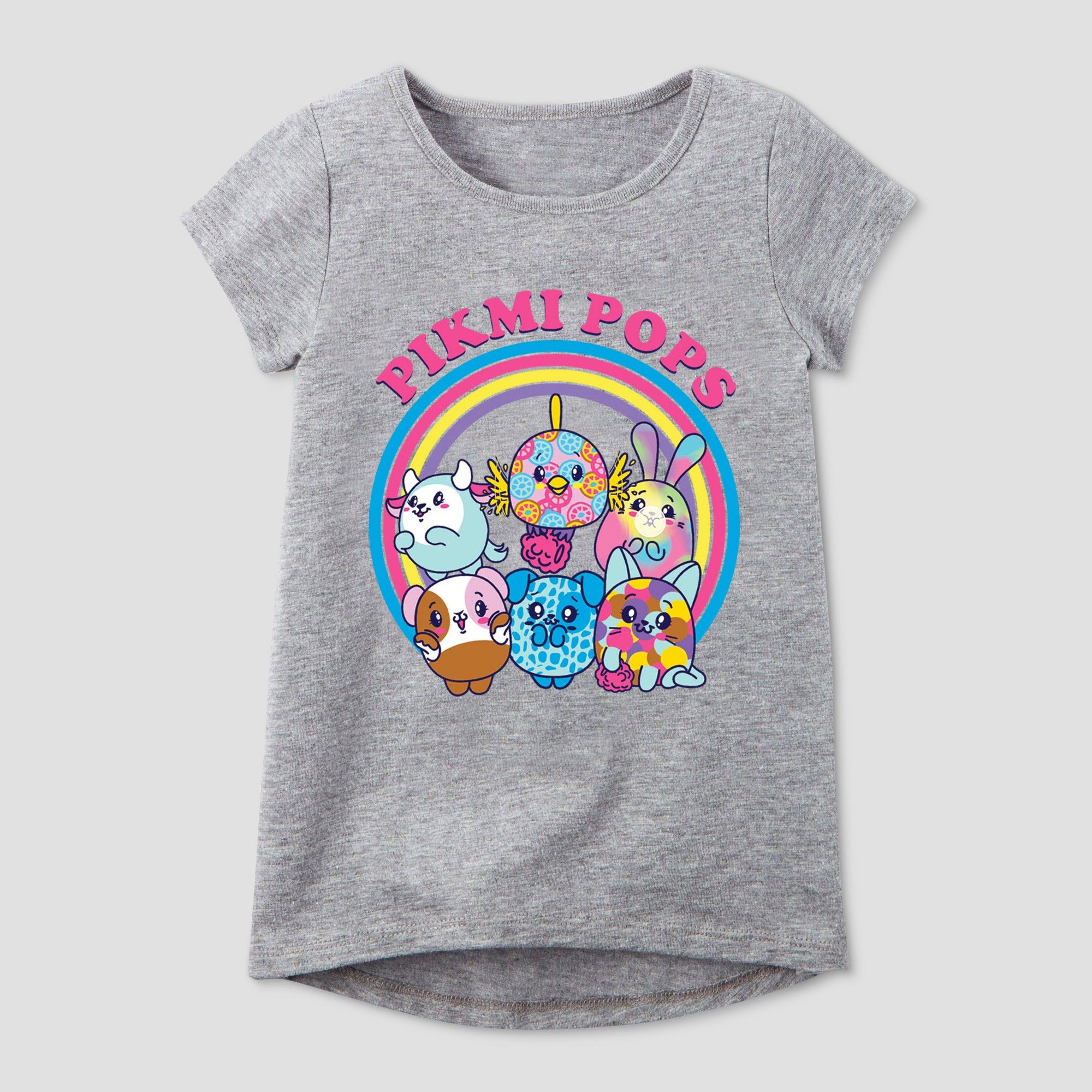 98c785e6 Girls' Pikmi Pops Short Sleeve T-Shirt - Heather Gray XS in 2019 ...