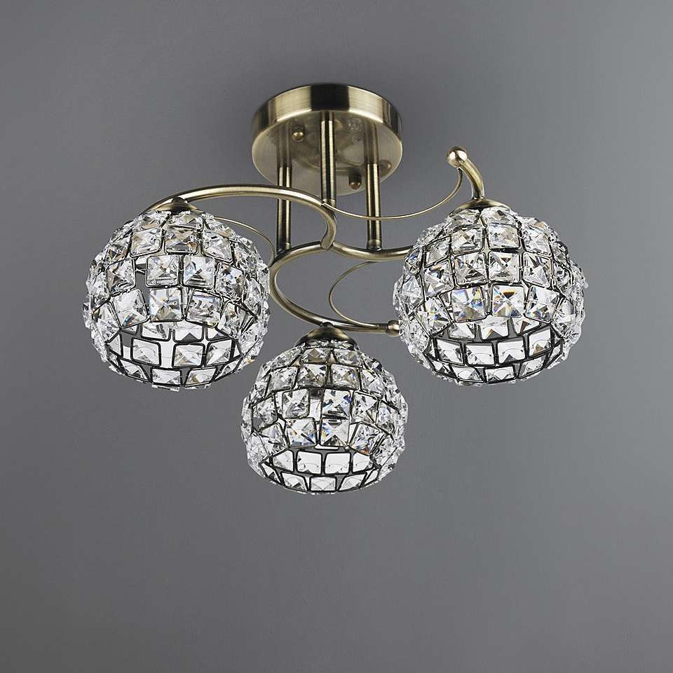 Bergen Crystal Antique Brass 3 Light Fitting Light