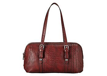 Carry all you need in style with this tote handbag by Relic. Handbag features a croc texture, back slide pocket, main compartment with zipper and cell phone pocket and a detachable 23 in. strap. Tote handbag measures 14 in. x 5.5 in. x 7 in. with a 10 in. drop.