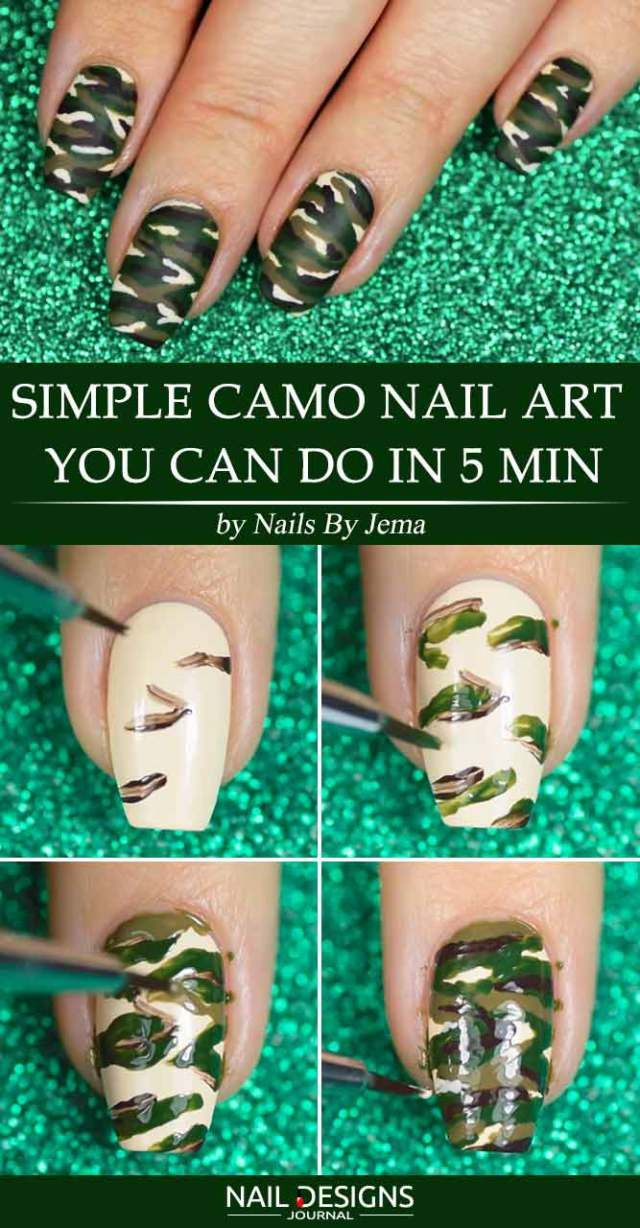 Easy Camo Nails – How To Do It In Simple Steps! | Pinterest ...