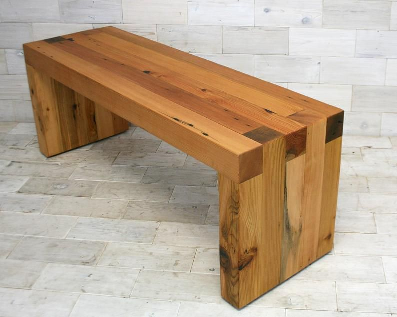 Reclaimed Wood Box Joint Bench Coffee Table Etsy Reclaimed Wood Benches Rustic Wood Bench Wood Bench