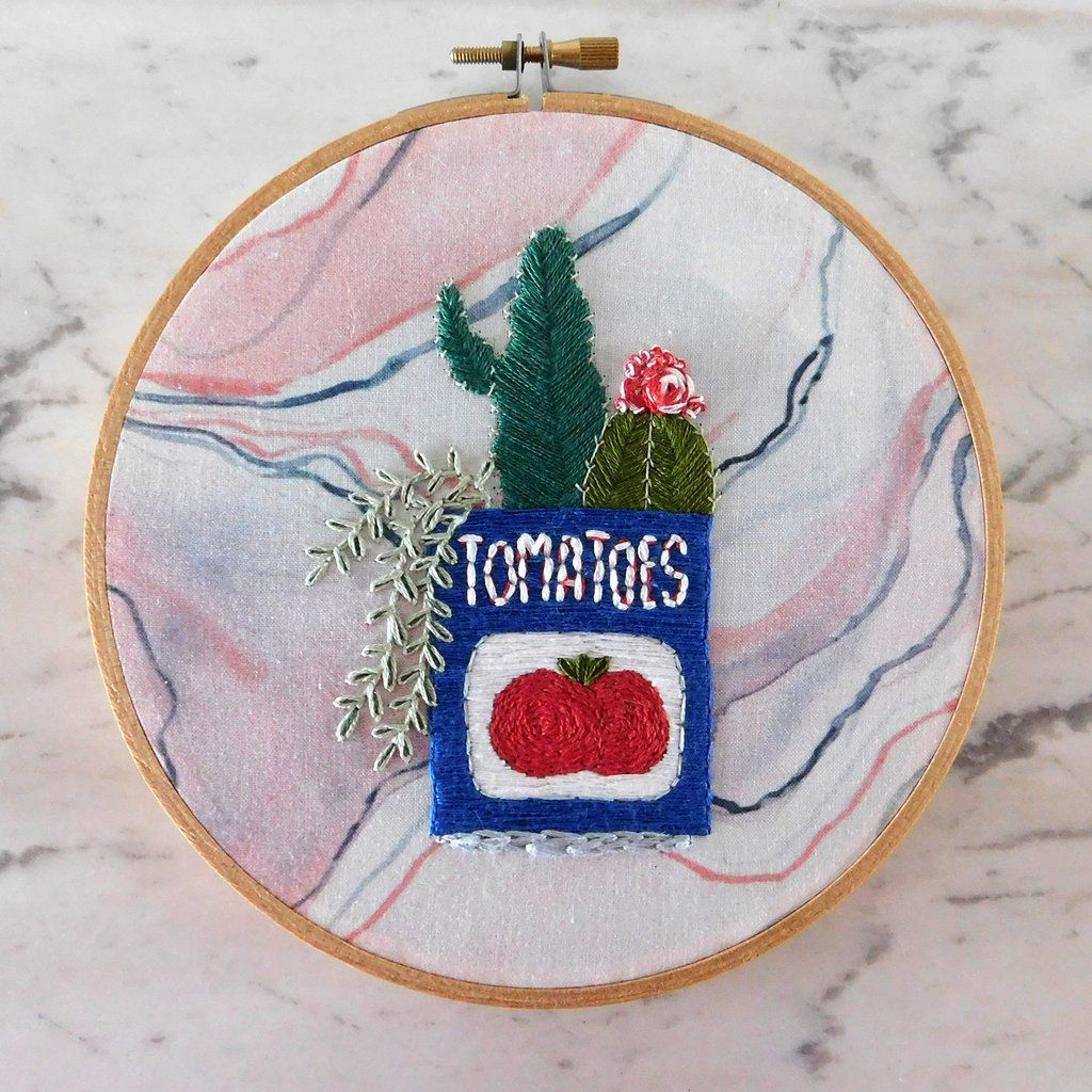 Cactus Embroidery Kit On Marbled Fabric