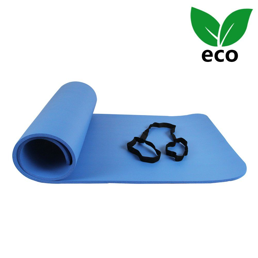 Ativafit Yoga Exercise Floor Mat Large Padded Extra Thick 12mm Nonslip Pilates Workout Exercise Mat Blue Check Mat Exercises Floor Workouts Pilates Workout