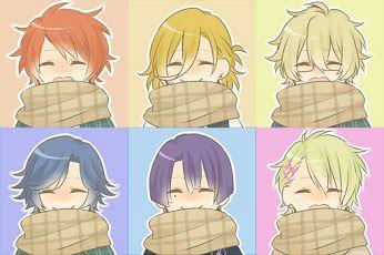Ittoki, Ren, Natsuko, Tokiya, Masato, and Syo wearing scarves. -- Anime, Uta no Prince-sama, fan art, cute characters, adorable