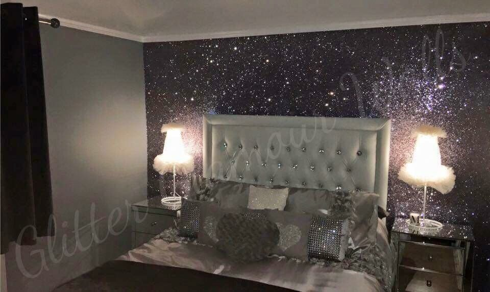 Gunmetal Glitter Wallcovering Apartment Bedroom Decor Living Room Decor Cozy Glitter Bedroom