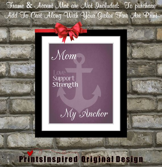 Mothers Day Gift Personalized Custom Anchor Art Print Gifts Under 20 For Mom Choose Colors From Daughter To Mum Mommy Wall Home Decor