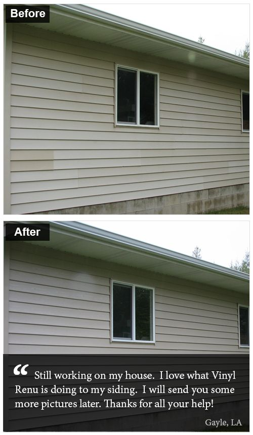 Gayle From Los Angeles Loves How Quickly Vinyl Renu Has Improved His Old Faded Siding S Appearance Vinyl Siding Options Vinyl Siding Siding Options